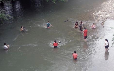 Rodaje de Telegordo en el rio Sarabando